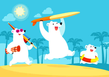 Illustration of polar bear family on summer vacation at the beach