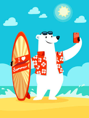oso caricatura: Ilustración de oso polar con I love tabla de surf de verano tomando selfie en la playa