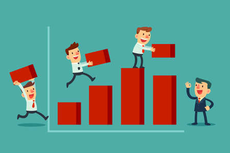 Illustration of team of businessman working together to build bar chart