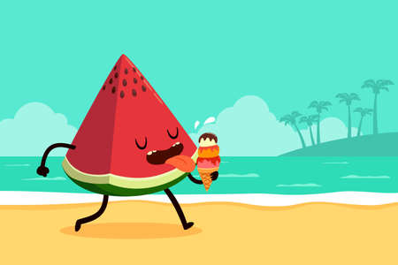 Cartoon illustration of watermelon eating ice cream at the beach Ilustração