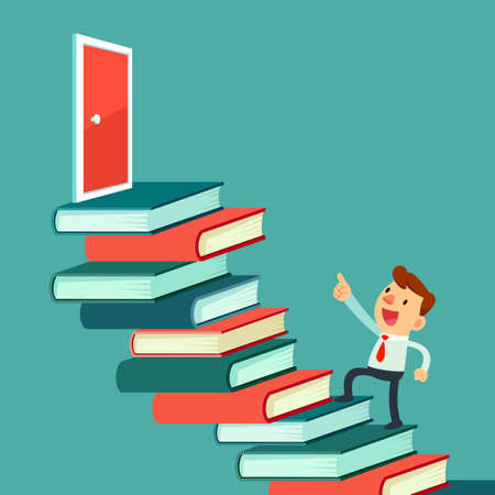 Illustration of businessman walk upward on book stair to the door