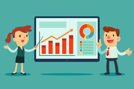 ビジネスマンとビジネスウーマン ビジネス グラフのプレゼンテーションを与える大画面のイラスト