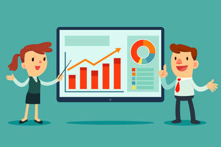 Illustration of businessman and businesswoman giving presentation with business graph on big screen Vettoriali