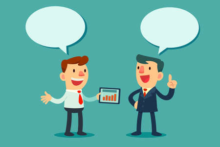 Illustratie van twee ondernemers bespreken business-strategie