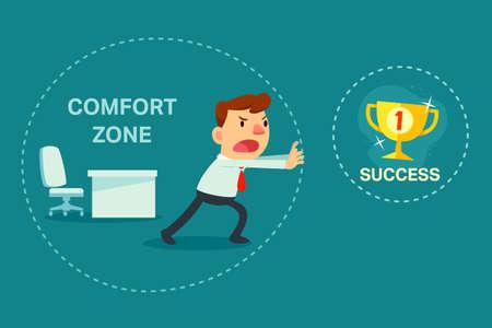 tr�sten: Illustration der Gesch�ftsmann versuchen, von Komfort-Zone, um Erfolg zu brechen