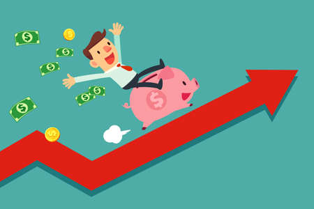 Illustration of businessman riding his piggy bank running upward on red arrow graph Stock Illustratie