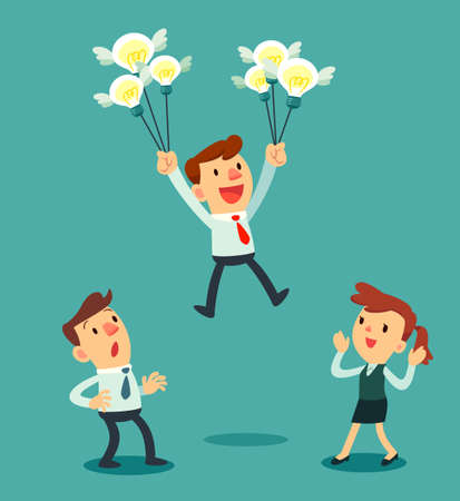 Illustration of businessman holding a group of idea bulbs float above others