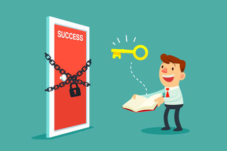 metaphors: Illustration of businessman open a book that has key to unlock door to success