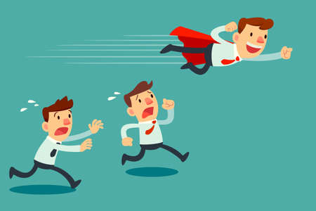 advantages: Illustration of businessman with red cape fly pass his competitor Illustration