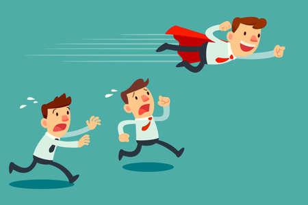 Ilustracja biznesmen z czerwona peleryna locie przekazać jego konkurenta