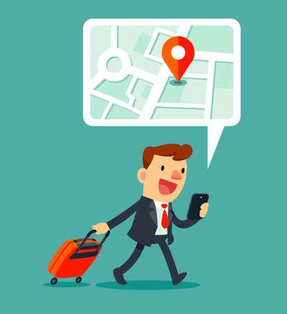出張のビジネスマンにスマート フォンのマップ アプリケーションを使用してのイラスト