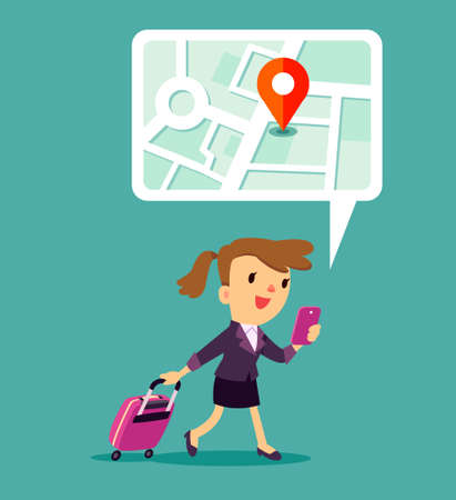 Illustration of traveling businesswoman using map application on smart phone