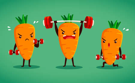 moves: set of carrot characters do difference weight training moves Illustration