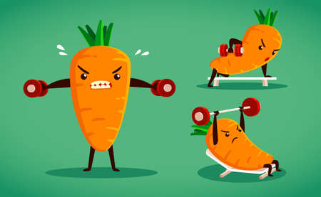 weight training: set of carrot characters do difference weight training moves Illustration
