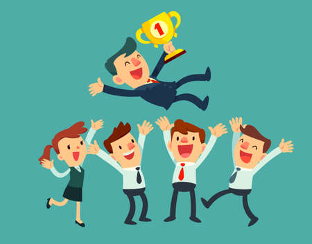 crowd happy people: business leader with a trophy and his team celebrating their success Illustration