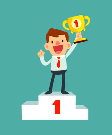 self improvement: illustration of a happy businessman holding a trophy on podium Illustration