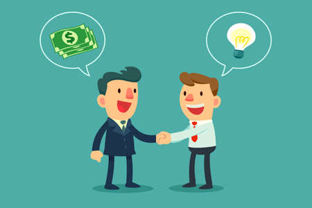 계약 인감 악수 두 기업인 일러스트
