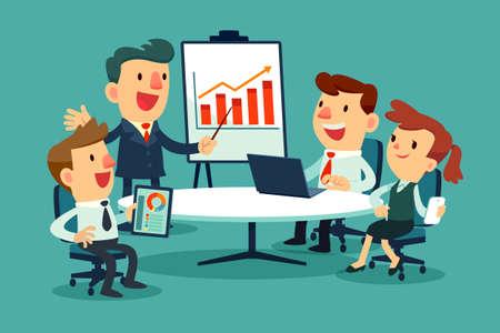 회의 테이블에서 비즈니스 사람들이 전략을 논의