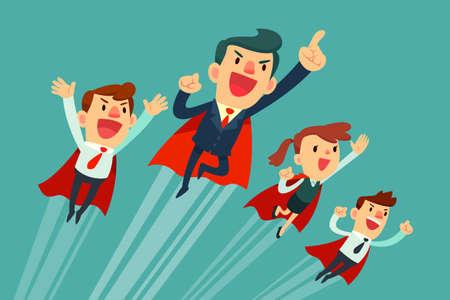 mosca caricatura: Súper negocio de equipo equipo de súper hombres de negocios en capas rojas volar hacia arriba para su éxito