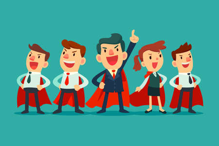 business team: Super business team - Illustration of super leader and super businessmen in red capes