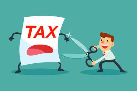 세금 종이 줄이려고 큰 가위를 들고 사업가의 그림