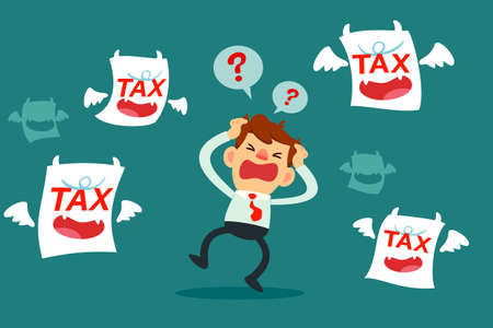 businessman get upset and confused by tax monsters that surrounding him Illustration