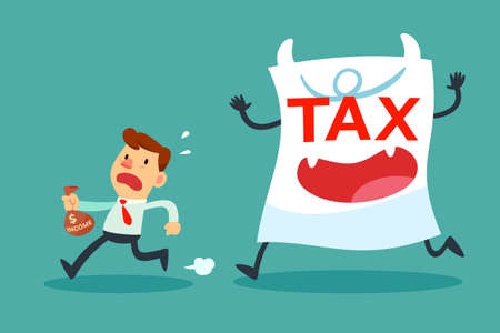 Illustration of businessman with small income running away from tax paper monster Illustration