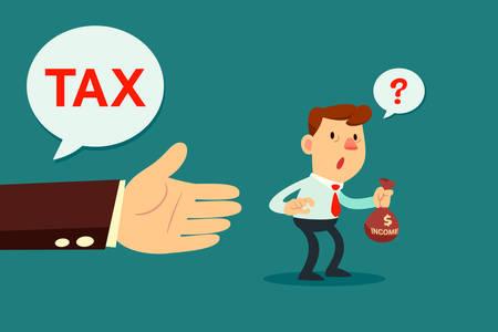 impuestos: Ilustración de la mano gigante preguntar pequeño empresario de dinero de los impuestos Vectores
