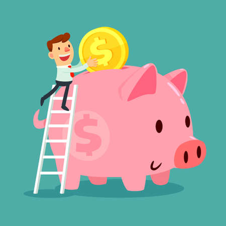 metaphor: Happy businessman climb up a ladder to put gold coin in his large piggy bank. Saving concept. Illustration