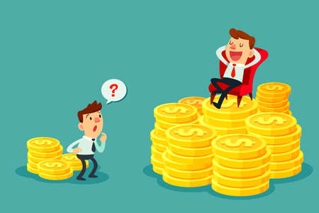 Happy businessman sit on several stacks of gold coins and another businessman only has a few. Investment concept. Stok Fotoğraf - 64869402