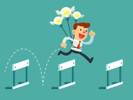hombre de negocios con las bombillas idea saltar por encima de obstáculos. Idea y Concepto de la solución Ilustración de vector