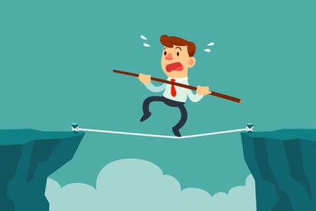 tightrope: businessman walk on rope across cliff gap holding balancing stick. Risk management concept. Illustration