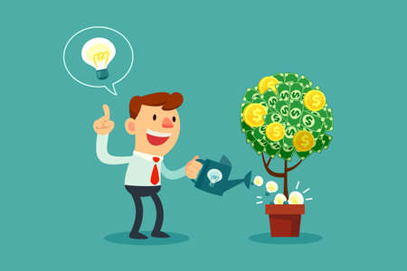 Happy businessman watering money tree with idea bulbs. Vectores