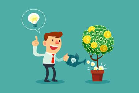 ganancias: Hombre de negocios feliz riego árbol del dinero con bombillas idea.