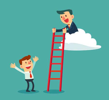 クラウドで成功した実業家は、はしごを保持することによって別のビジネスマンを助ける