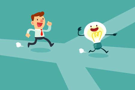hombre de negocios se ejecuta después de la bombilla idea a través del cruce. Las opciones Idea y concepto de la decisión.
