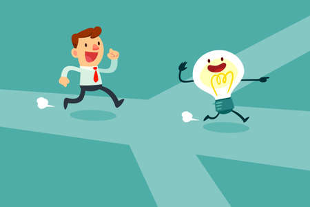 businessman run after idea bulb through the crossroad. Choices Idea and Decision concept. Illustration