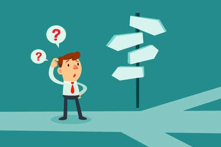 Zakenman die zich bij kruispunt verward door richting tekenen. Keuzes en besluitvorming concept.