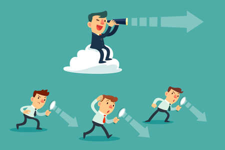 successful businessman with telescope sit on cloud above others. Business Vision Concept. Illustration