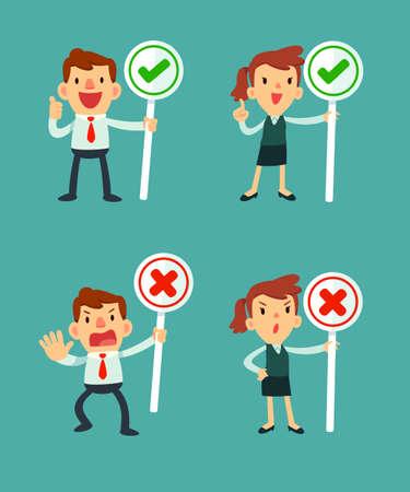 チェック記号とシンボルをクロス一連のビジネスマンおよび記号を保持する女性