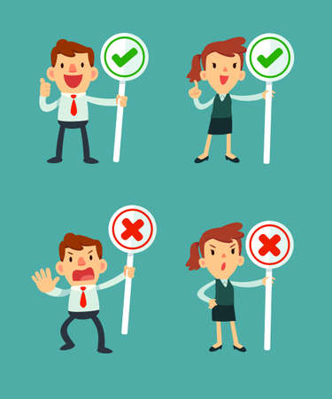 disapprove: set of businessman and women holding sign check symbol and cross symbol