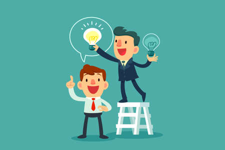 successful businessman give another businessman new idea bulb Иллюстрация