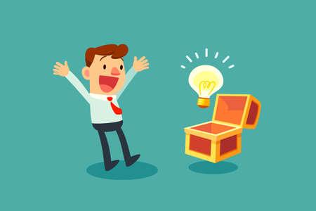 幸せなビジネスマンを開いてたからし、アイデア電球を発見  イラスト・ベクター素材