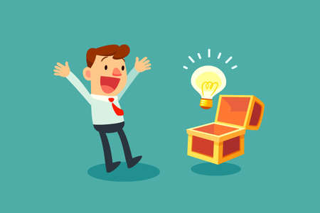 happy businessman opening treasure chest and discover idea bulb