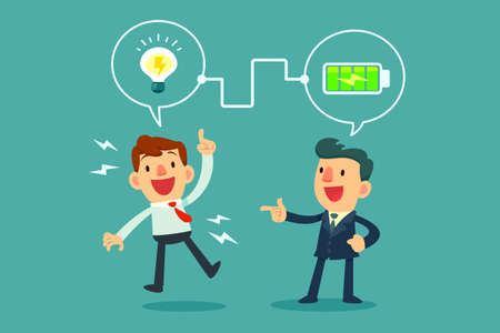 successful businessman charging battery power to another businessman's idea bulb Illustration
