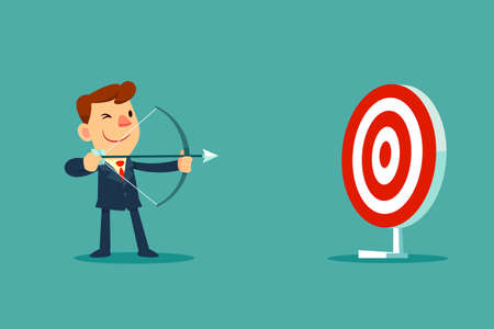 successful businessman: successful businessman aiming target with bow and arrow