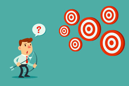 Businessman with bow and arrow look at multiple targets. Cannot decide which target to shoot at.