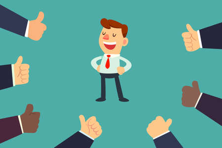 Happy and proud businessman with many thumbs up hands around him. Business compliment concept.