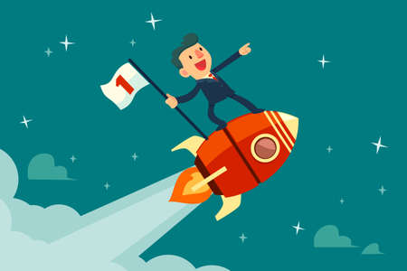 Happy businessman holding number one flag standing on rocket ship flying through starry sky. Start up business concept.