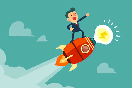 Happy businessman standing on rocket ship with idea light bulb flying through the sky. Start up business idea concept.